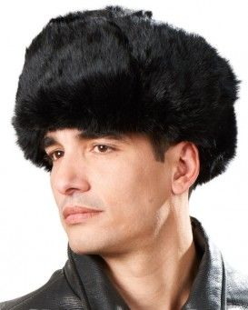 77492b5efb5b9 Black Rabbit Fur Russian Ushanka Hat for Men