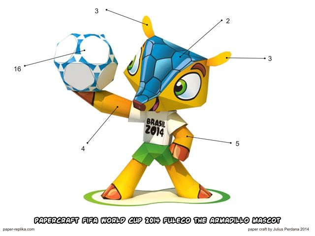 Ninjatoes Papercraft Weblog Papercraft Fifa World Cup Football Mascot Fuleco T Mascot Design Mascot Paper Crafts