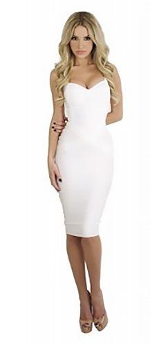 c8e59e1cd93 Under My Spell White Sleeveless V Neck Sexy Bandage Bodycon Midi Dress
