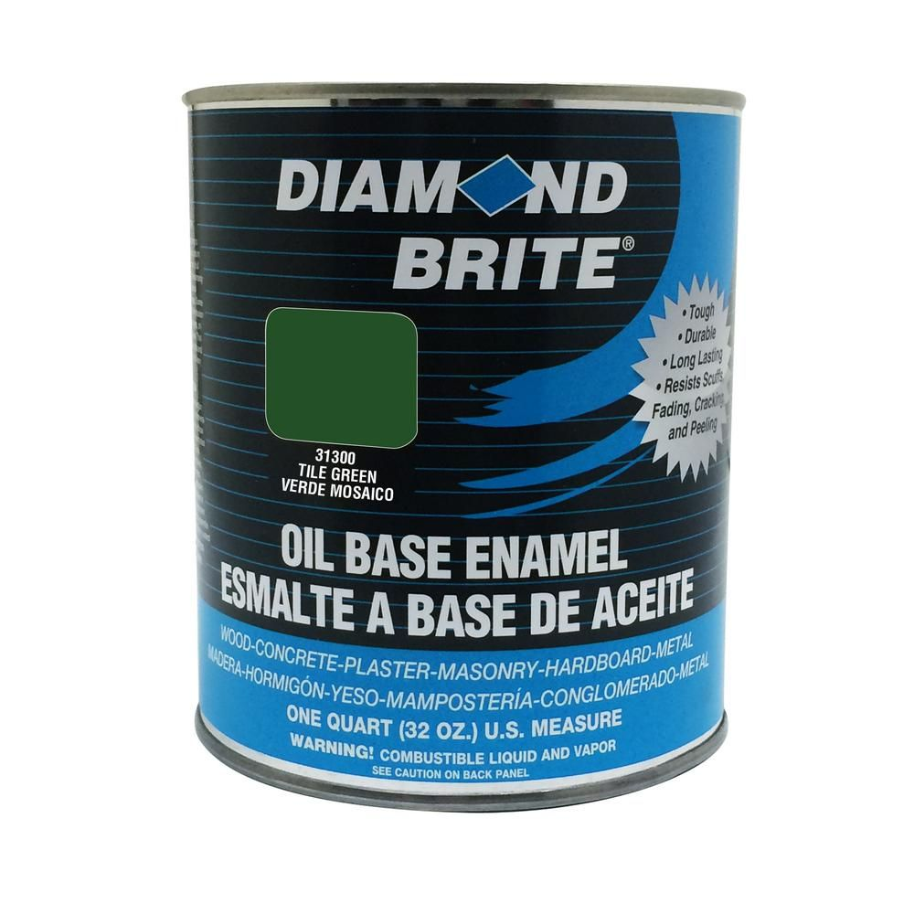 Diamond Brite Paint 1 Qt. Tile Green Oil Base Enamel Interior/exterior Paint-31300-4 Diamond Brite Paint 1 qt. Tile Green Oil Base Enamel Interior/Exterior Paint-31300-4 Oil Painting oil based enamel paint