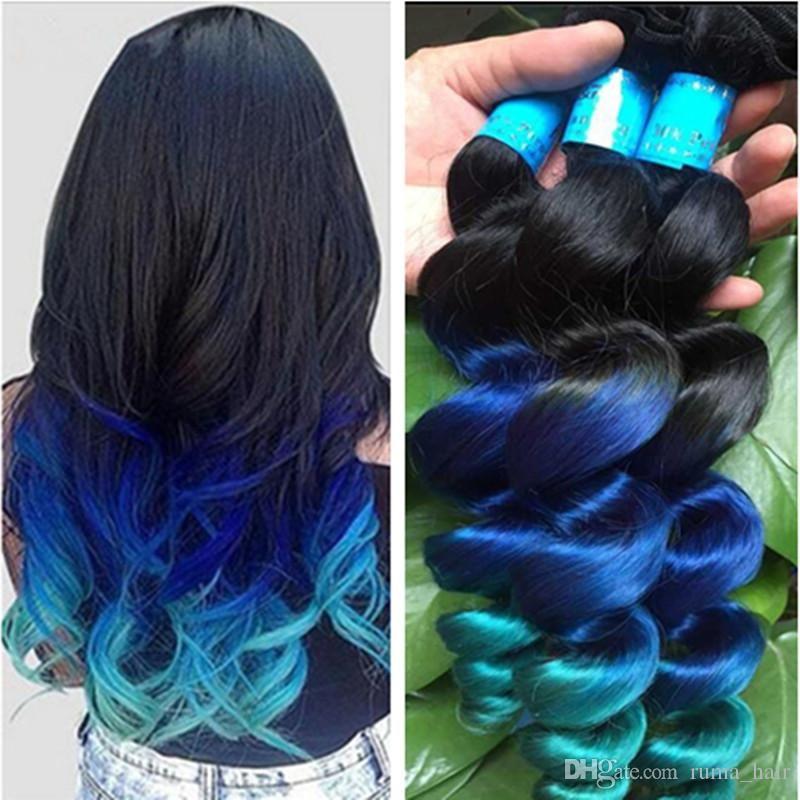 New Arrive Ombre Loose Wave Hair Extensions 3pcs Lot Three Tone 1b