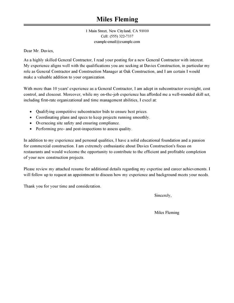 Cover Letter Examples Leading Professional General Contractor Cover Letter Examples
