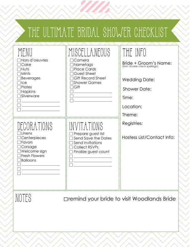 Bridal Shower Planning Checklist Bridal Shower Planning