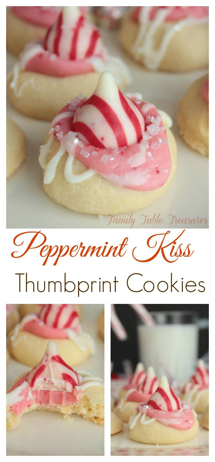 Peppermint Kiss Thumbprint Cookies