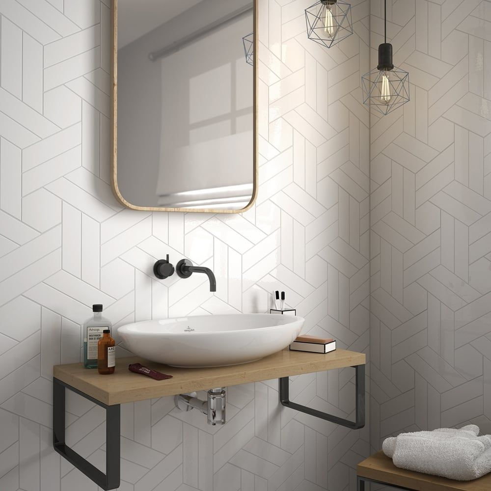 Chevron White Left 18.6 x 5.2cm Wall Tile PER BOX | bathroom ...
