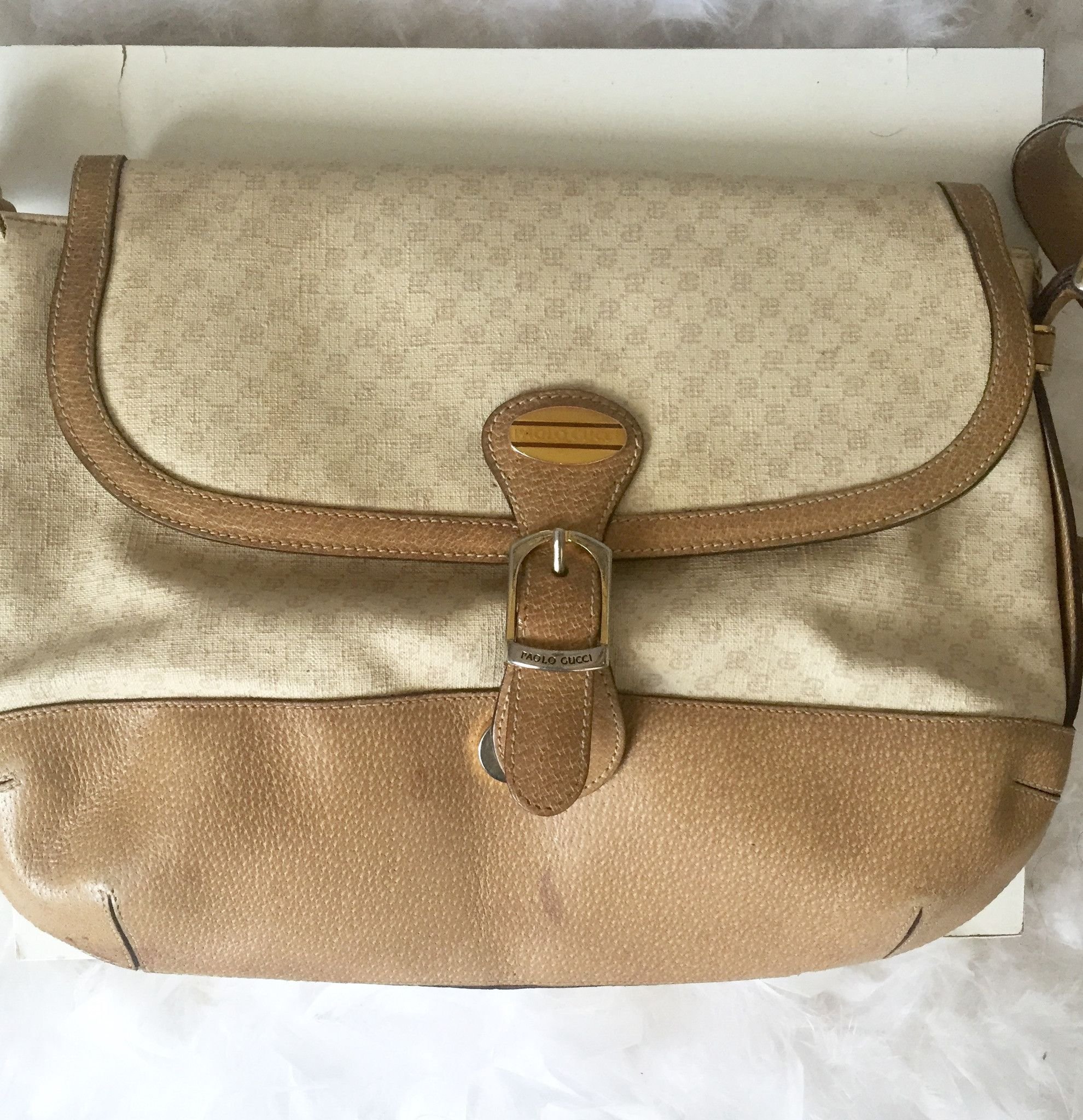 95fedb34496 80 s Signed Beige Paolo Gucci Vintage Monogram GG Bag