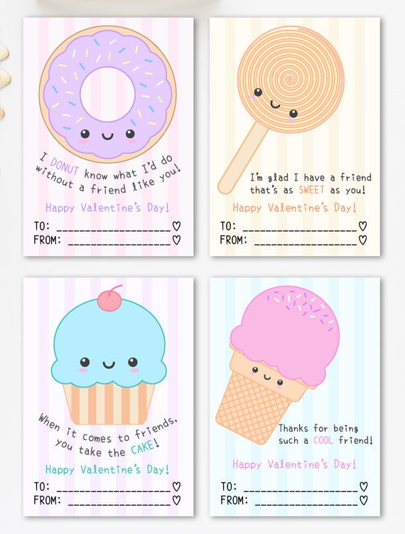 Cute Valentine Cards Printable Kawaii Sweets Theme – Homemade Valentine Cards for School
