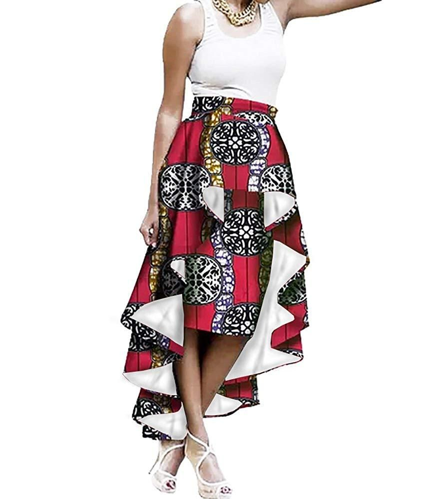 4e49472897f Lovaru Womens African Skirt Dashiki Print Ruffles High Waist Romper Skirts  One Pieces