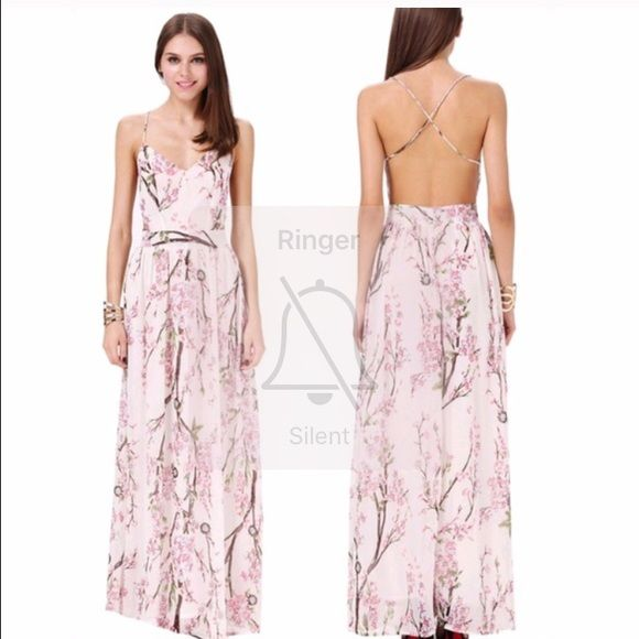 Backless floral print maxi dress Super cute gorgeous back less Maxi floral print dress bought from another posher just too small for me. Dresses Maxi