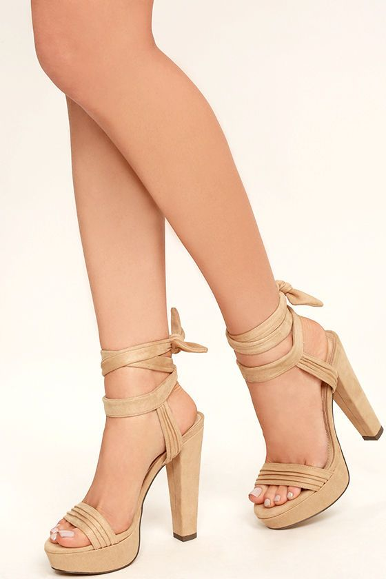 3063fda9ead The Corrine Nude Suede Lace-Up Platform Heels were made to party! The  softest