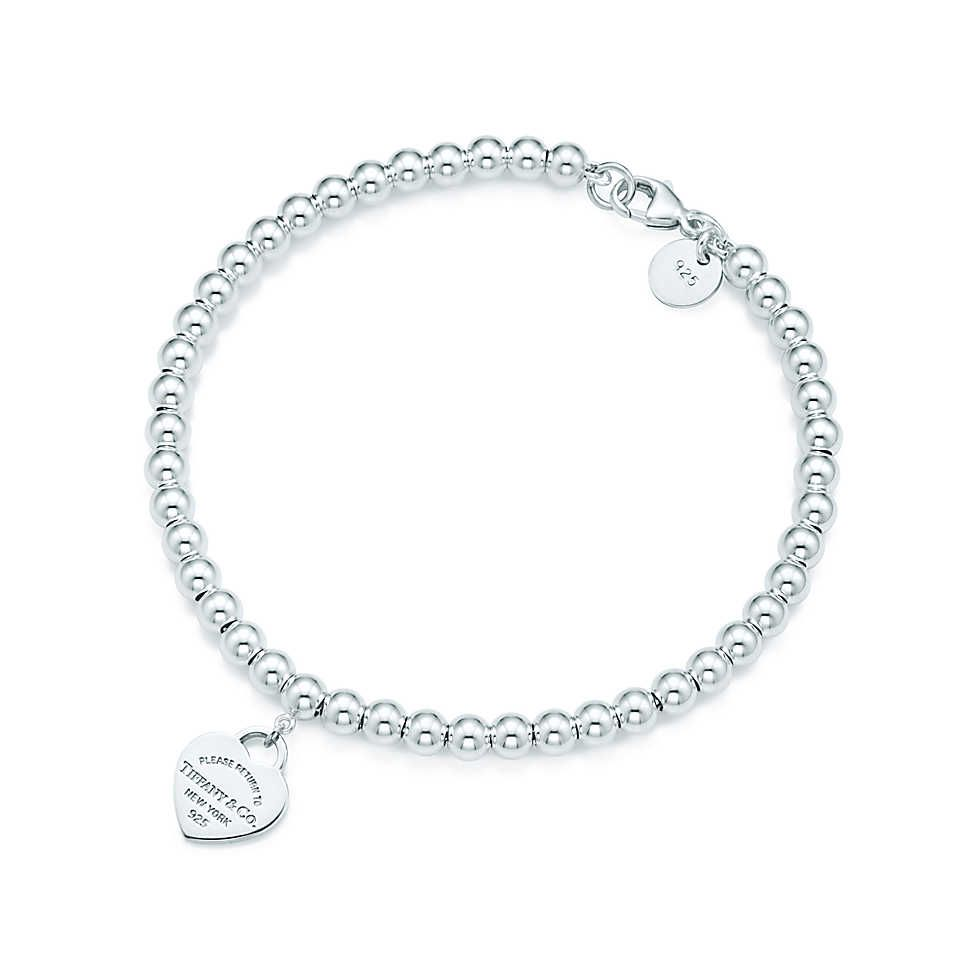 Return To Tiffany Mini Heart Tag In Sterling Silver On A Bead Bracelet