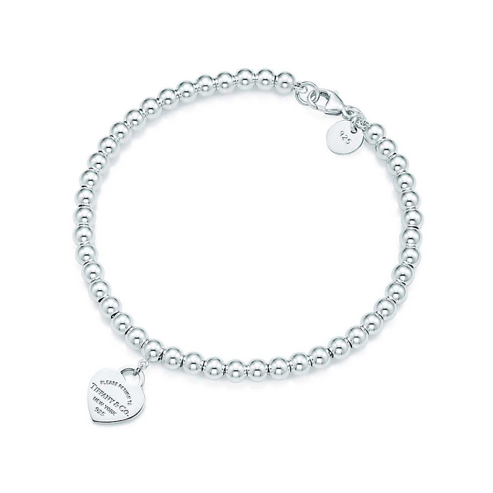 Return To Tiffany™ Mini Heart Tag In Sterling Silver On A Bead Bracelet Ok