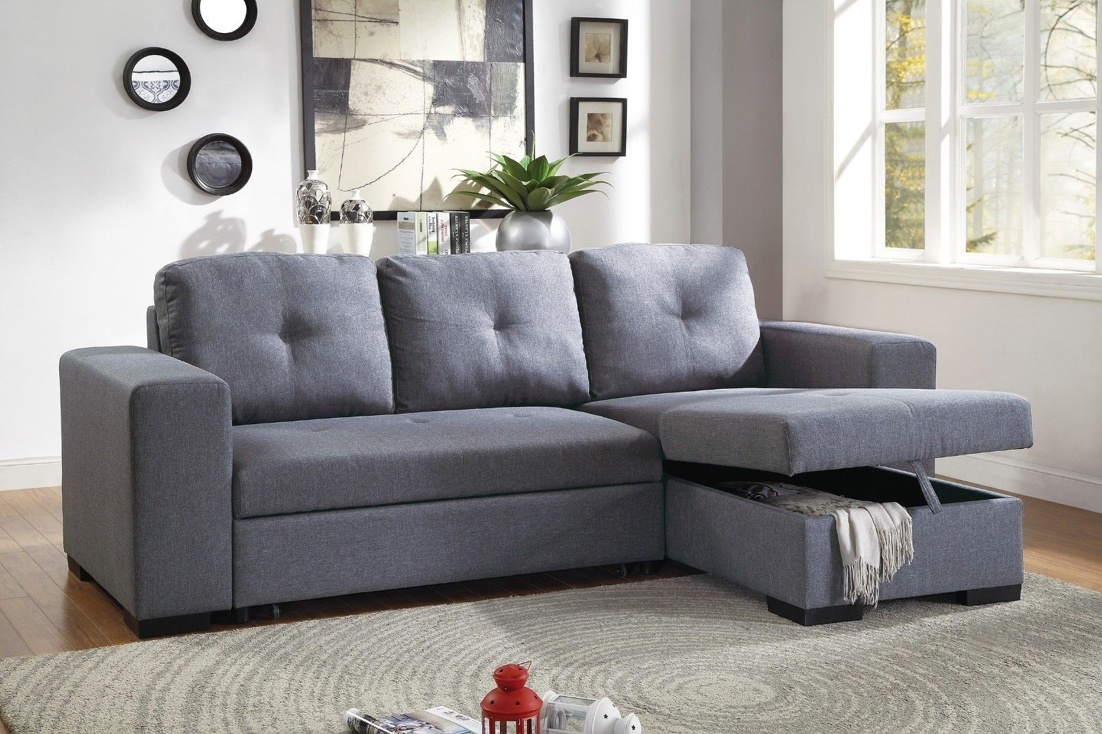 Convertible Sectional Sofa Modern Small Family 2pcs Set Sofa Reversible  Chaise