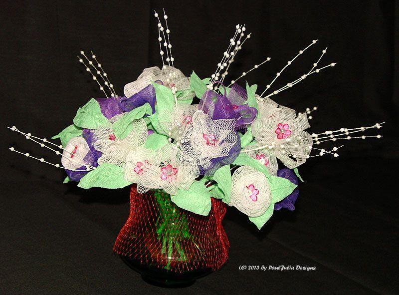 A Bouquet Of Flowers Made From Garlic Mesh Bags Flower Bouquet