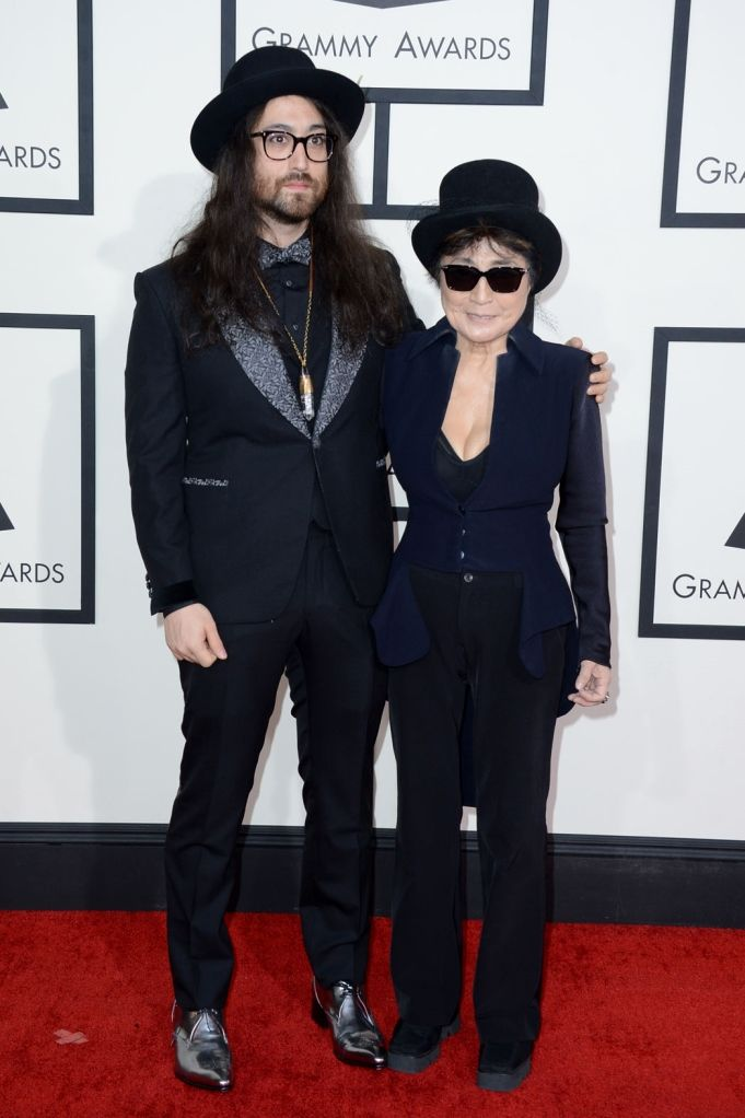 Sean Lennon and Yoko Ono at the 56th annual GRAMMY Awards 26 Jan 2014 Los Angeles pic by Jordan Strauss