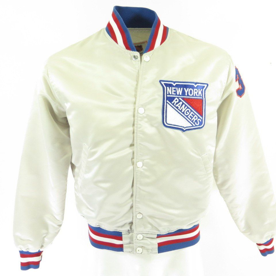 Vintage 80s New York Rangers Starter Satin Jacket Mens Rare White Hockey Nhl The Clothing Vault Satin Jackets Vintage Sports Clothing Jackets