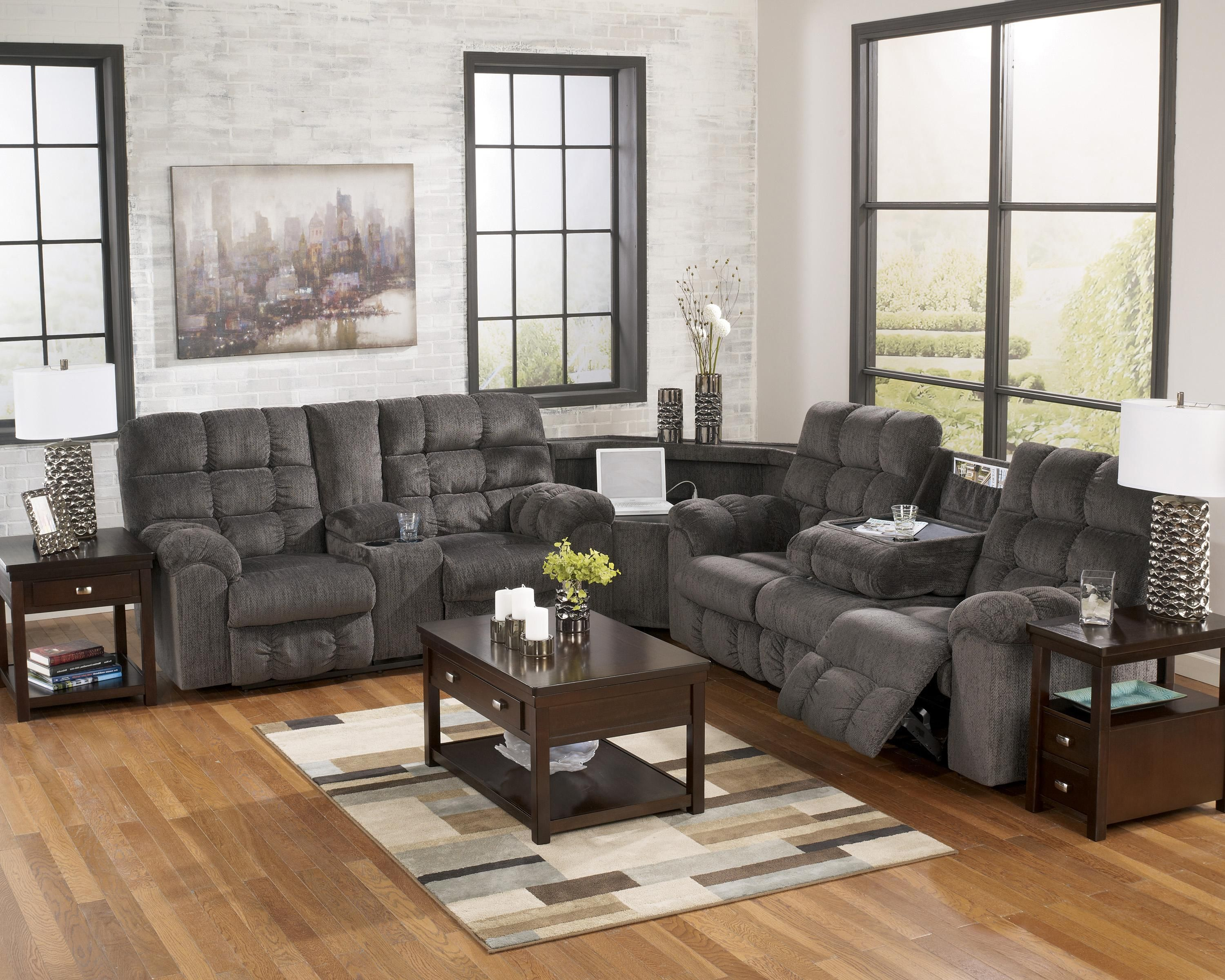Peachy Acieona Slate Reclining Sectional With Left Side Loveseat Andrewgaddart Wooden Chair Designs For Living Room Andrewgaddartcom