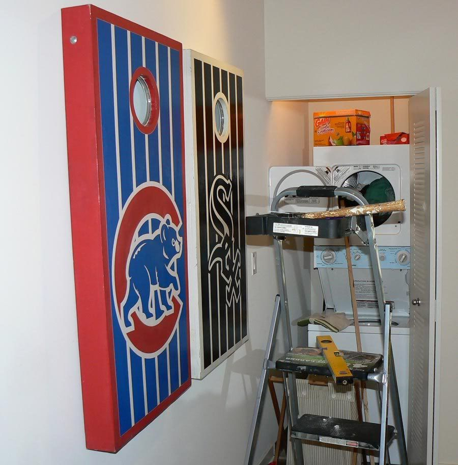 How to hang corn hole boards