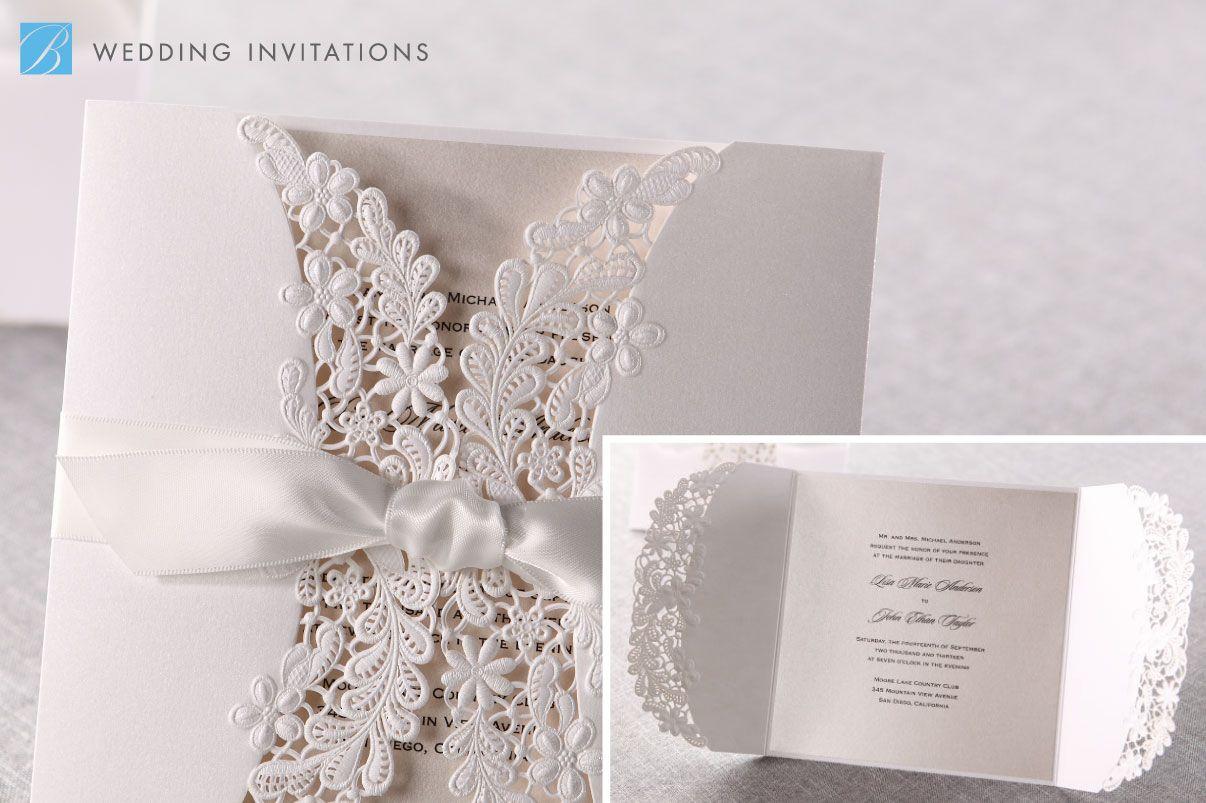 Laser Cut Floral Wrap Invitation by B Wedding Invitations | Laser ...