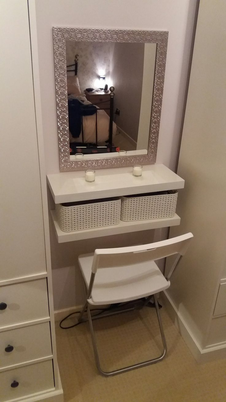 Photo of DIY dressing table. 2 floating shelves, boxes, seat and mirror. – Do it yourself decoration