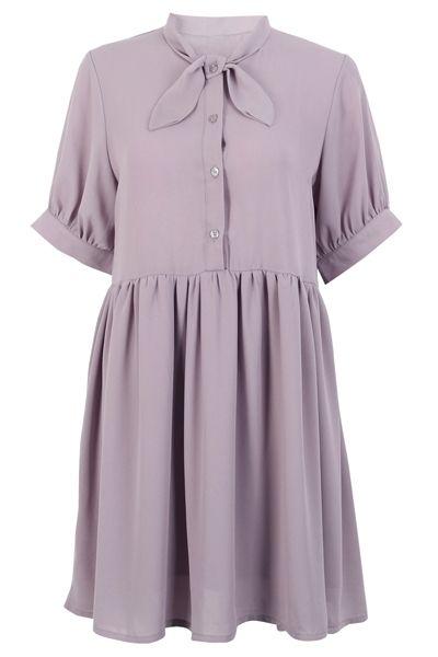 Bowtie Babedoll Shirt Dress