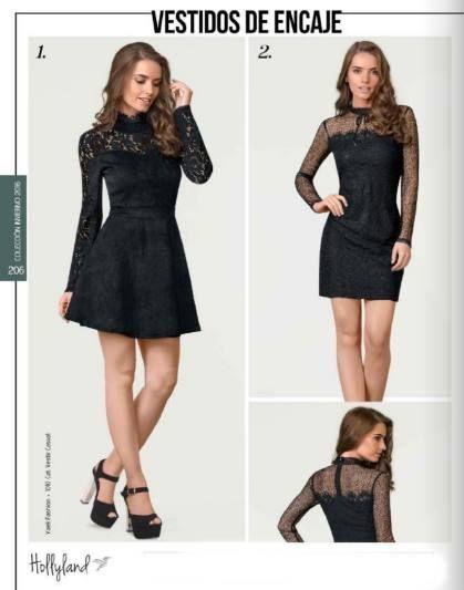 d02e1e46e Vestidos de encaje en color negro. Vestidos de la marca Holly Land.  Catalogo price shoes ropa dama.  fashionista  vestidodeinvierno  cool   vestidonegro   ...