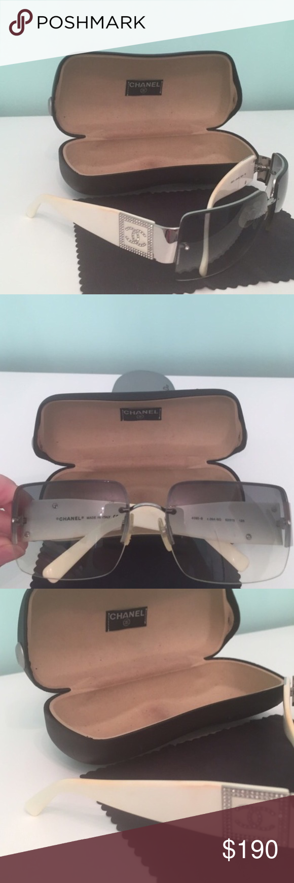 acd90abfdd5f Chanel sunglasses Authentic Chanel sunglasses white with crystals on side    light gray lenses