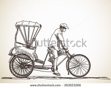 Sketch Of Cycle Rickshaw Rural Pinterest Drawings Sketches