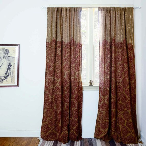 Curtains brown window curtains window treatment Block printed bedroom curtain home living decor hous is part of Boho bedroom Curtains - www ichcha com
