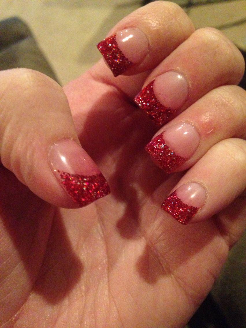 Red Glitter Tips Solar Nails Christmas Red Nails Glitter Glitter French Manicure Nail Designs Glitter