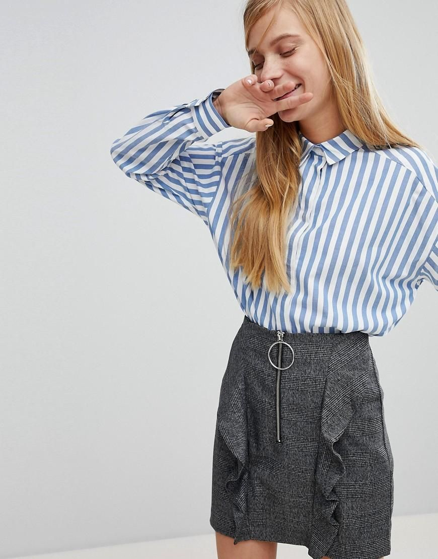 Boxy Striped Shirt - Blue and white Monki Cheap Discount Sale ibKNdfTukR