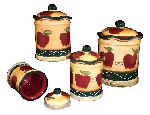 4 pc country apple canister set country by ack save 18 off create a personal and for Kitchen set elegant