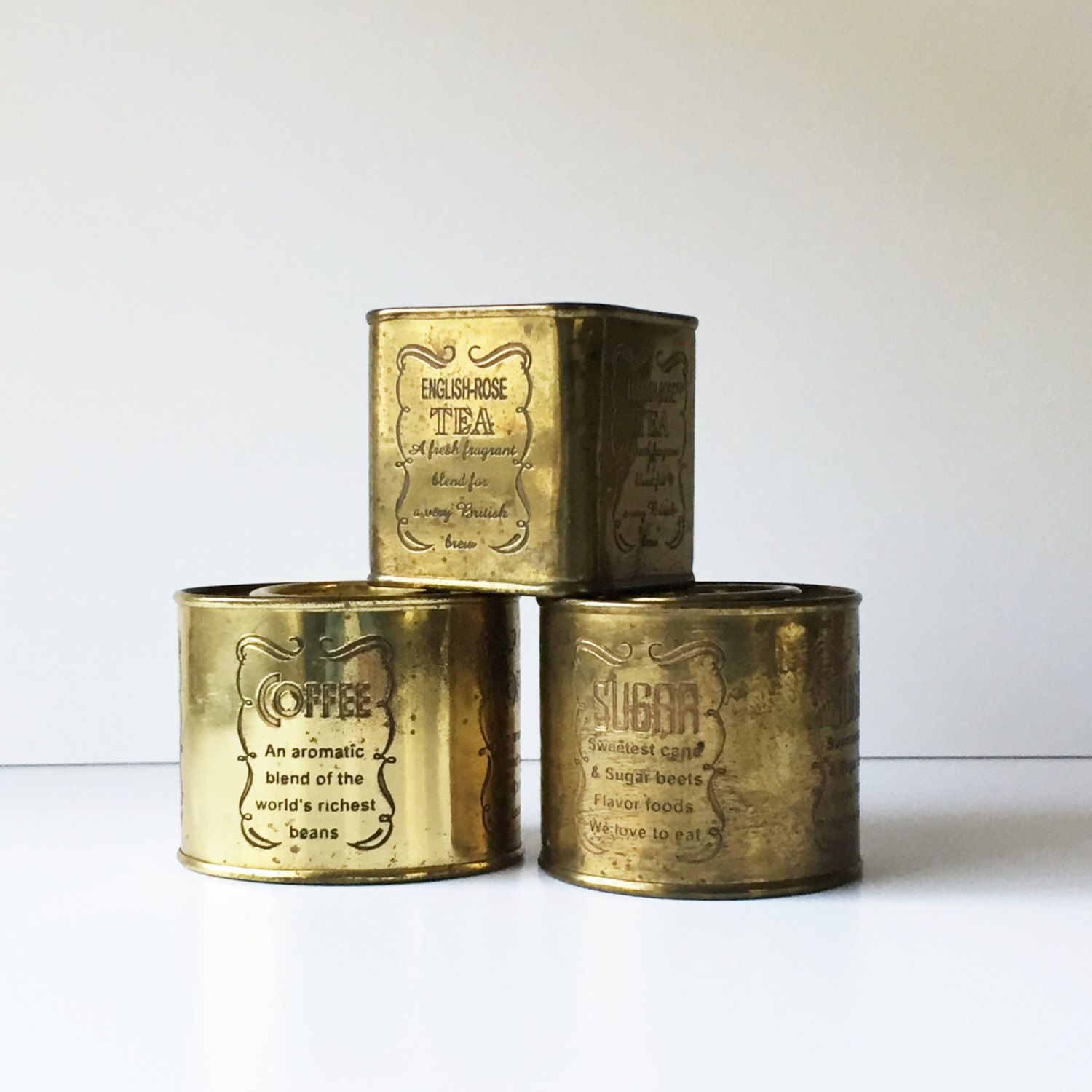 Tea Tins Vintage Brass Canisters Tea Coffee Sugar Canisters Brass