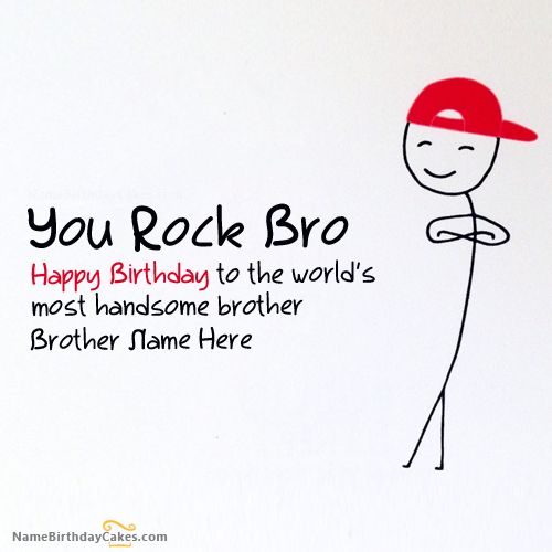 Write Name On Funny Birthday Card For Brother Picture