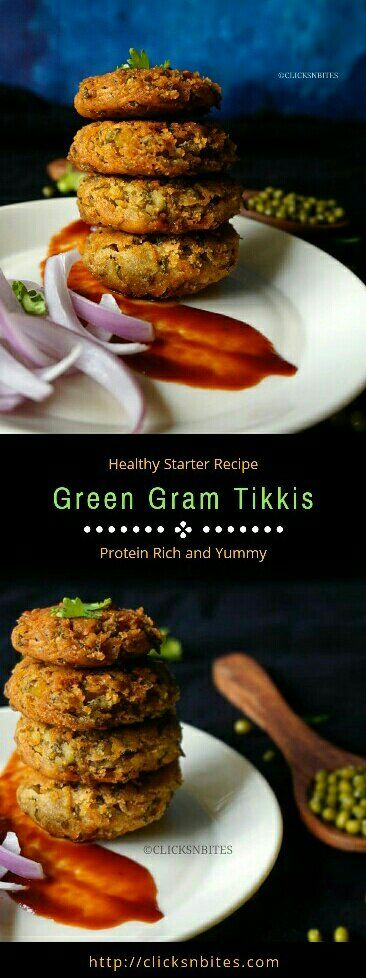 Green Moong Dal Tikkis/Green Gram Tikkis With Just 4 Main