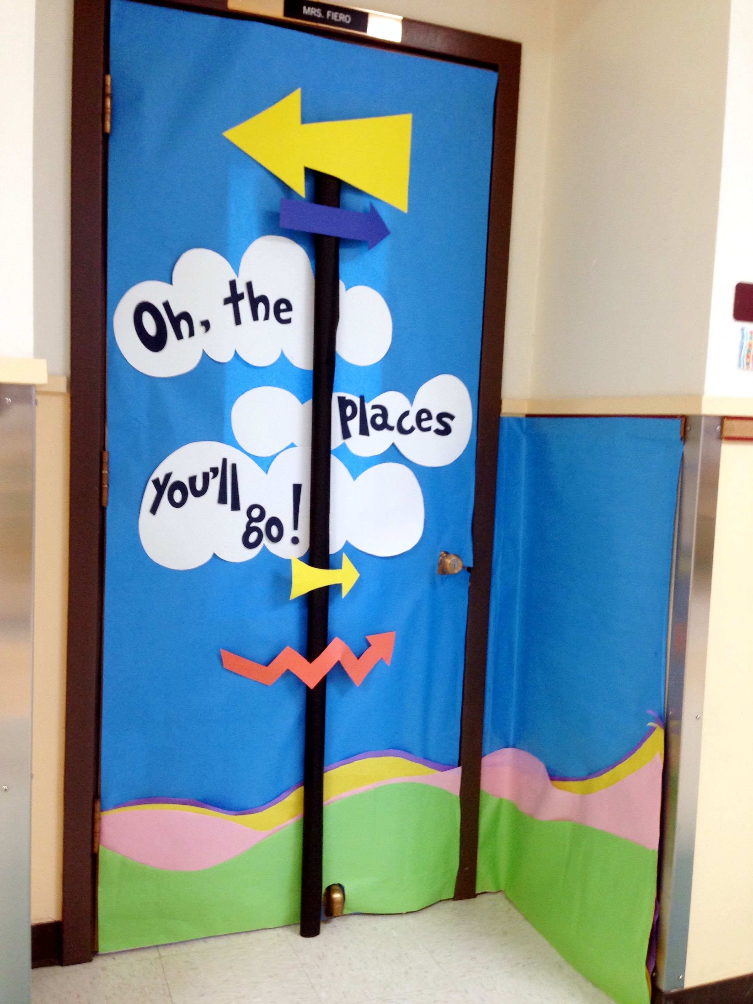 """Eye- catching Dr Seuss classroom door from his book: """"Oh ..."""