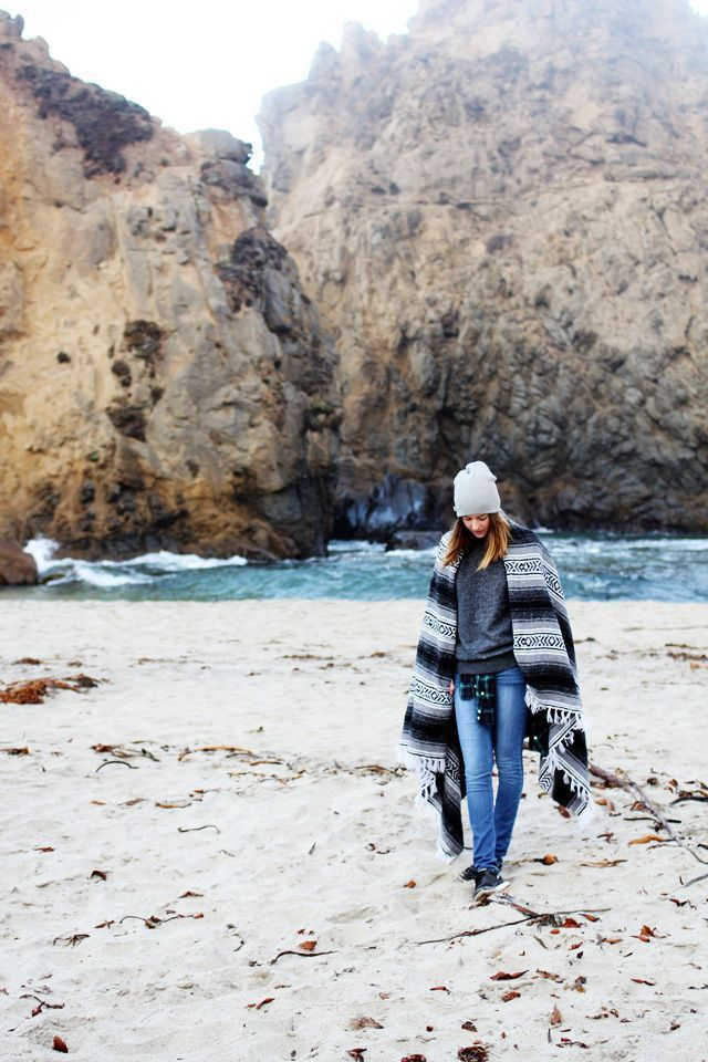 Winter beach walk | Cold beach outfit, Surf girl style ...