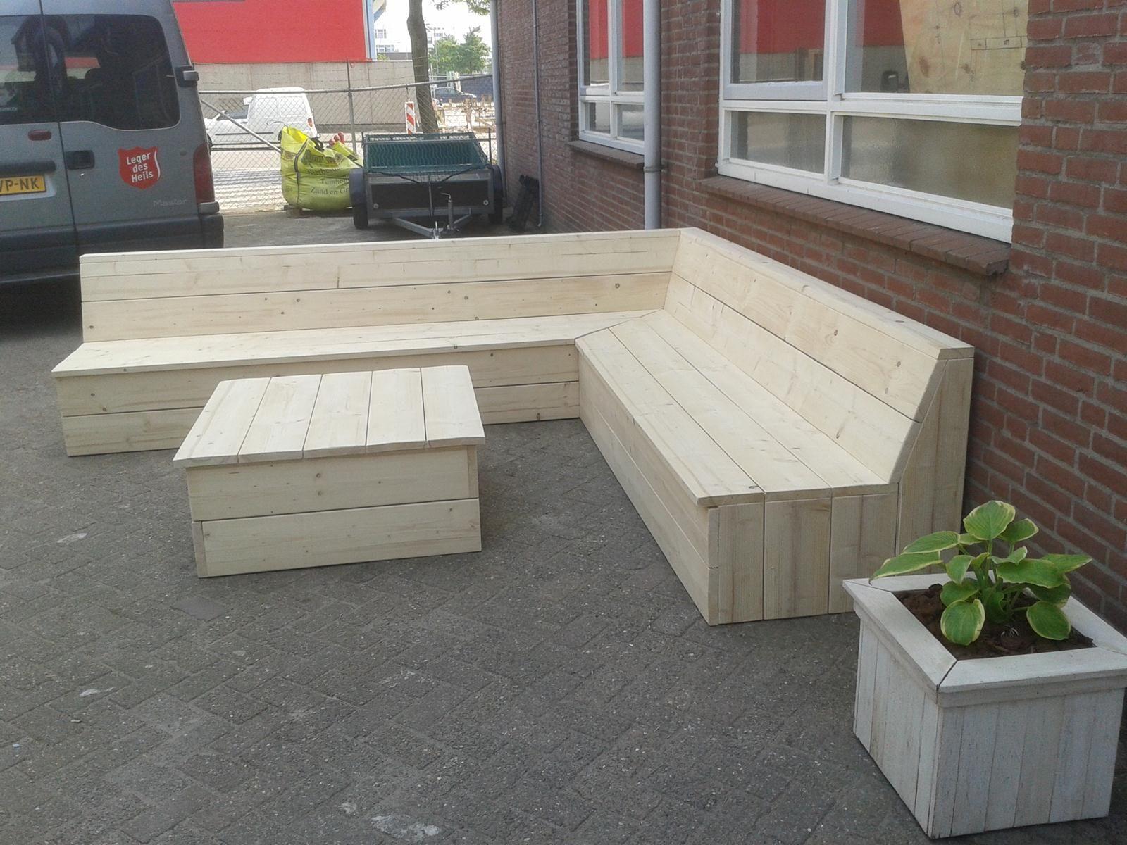 Steigerhout Meubels Barendrecht : Steigerhouten hoekbank met hoge tafel voor in de tuin barendrecht