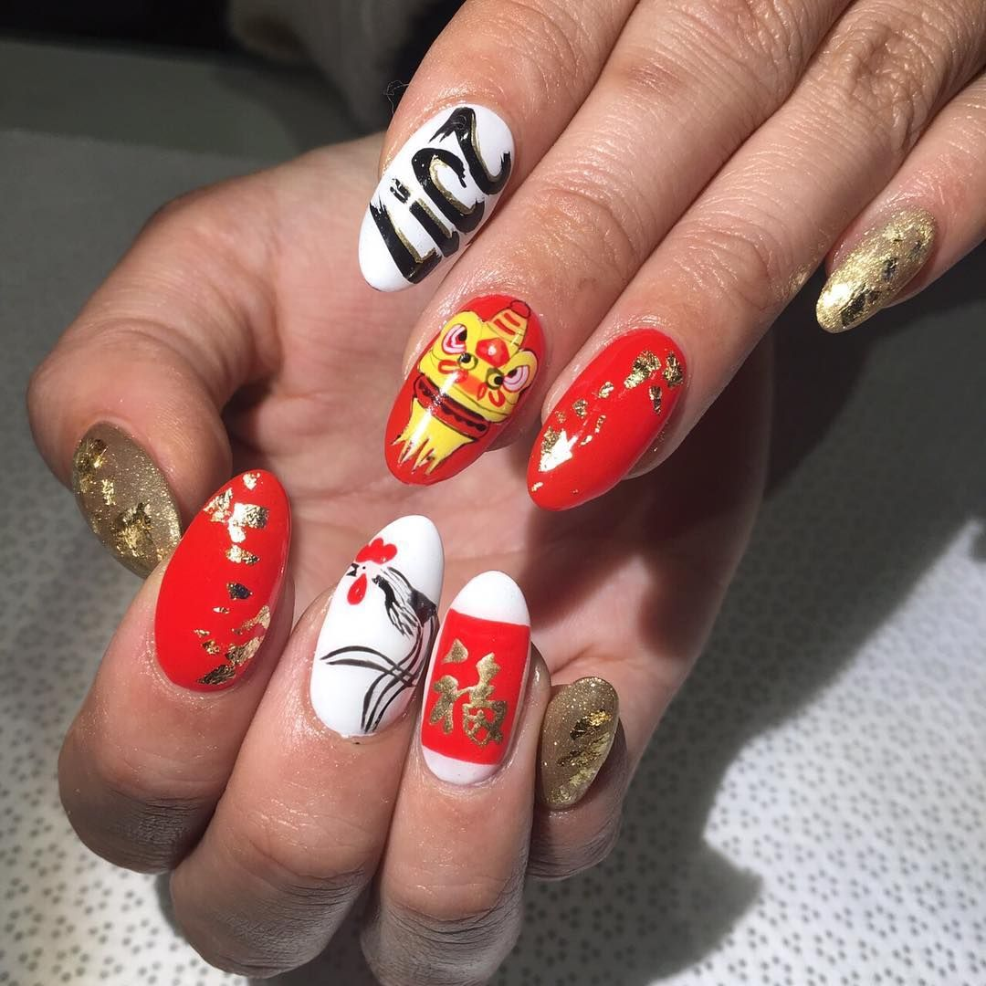 Surprisingly hardcore rooster Chinese new year nail art by