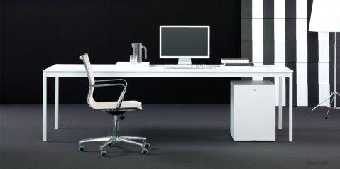 Bianconero Long White Executive Desk 机 オフィスインテリア