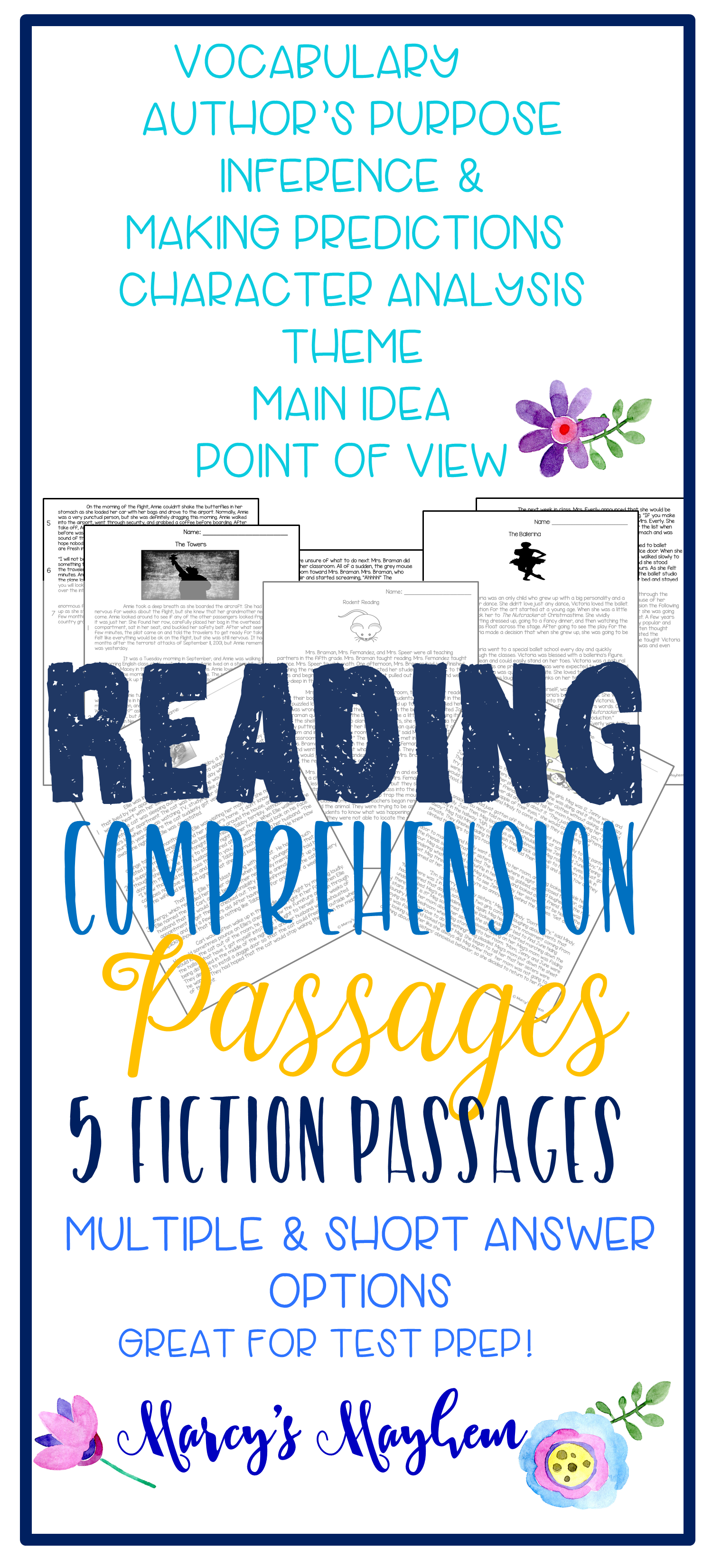 Fiction Reading Passages With Comprehension Questions 4th