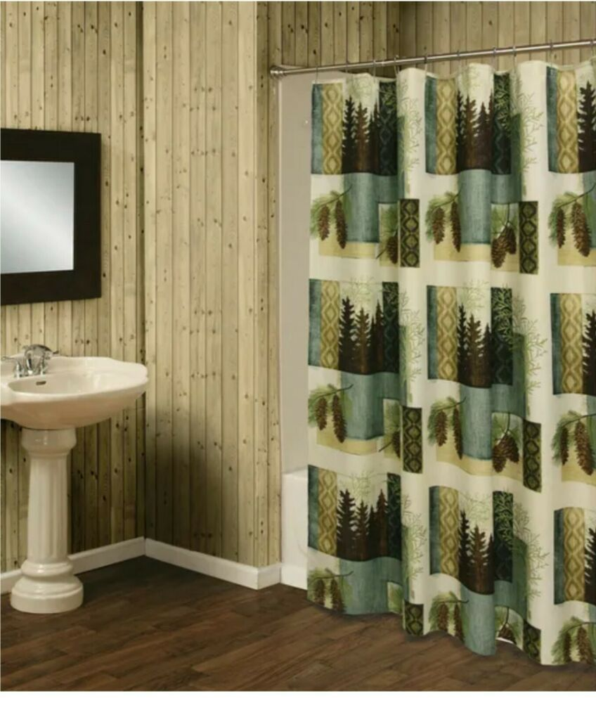Bacova Pine Trees Duschvorhang Westlake Rustic Cabin Bathroom