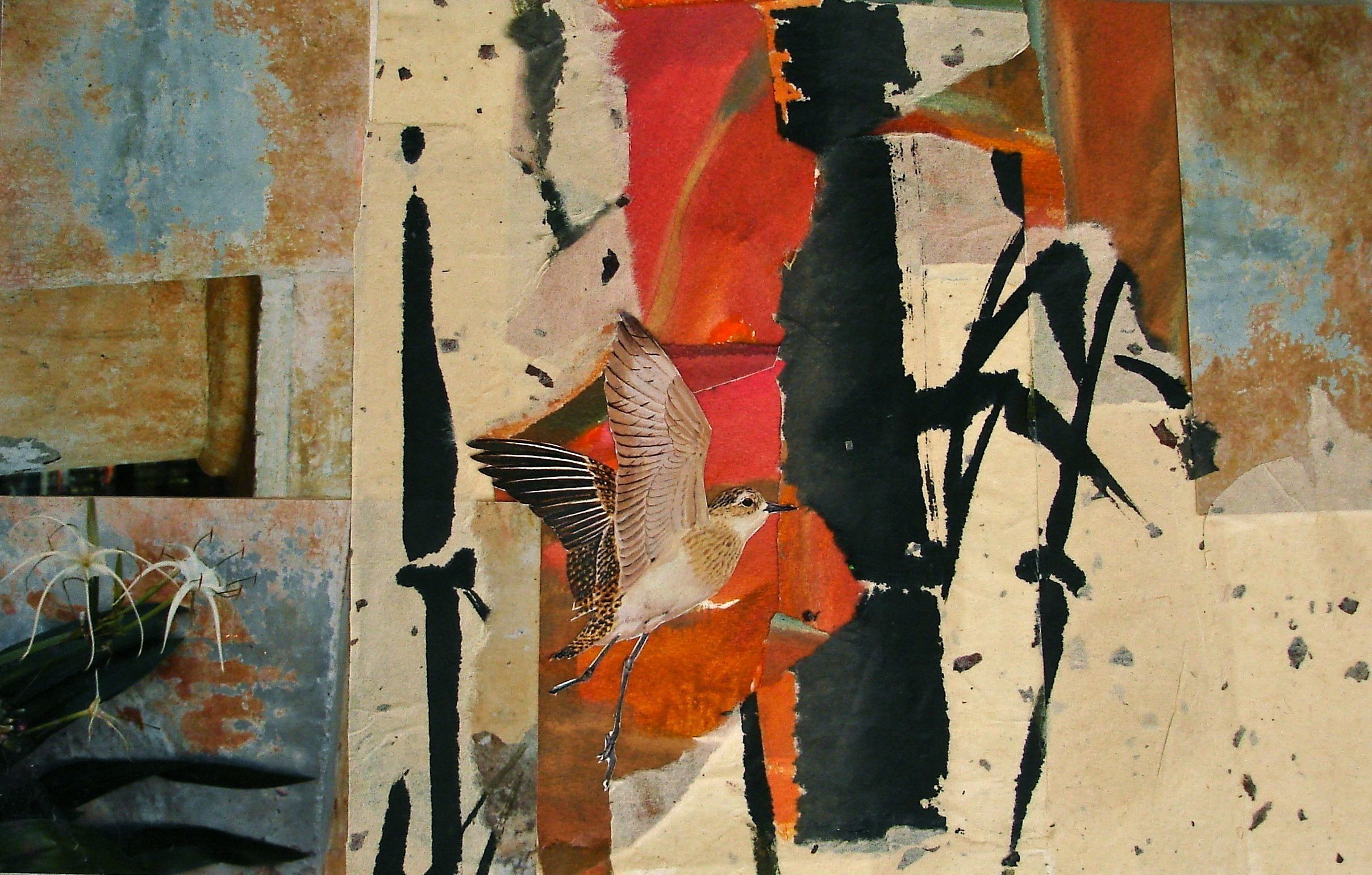 Journey East, collage by Lynne Friedman, 8x16