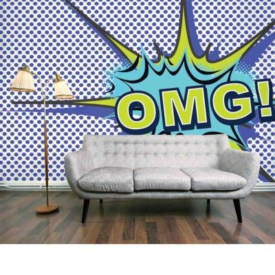 OMG Blue Mural (OMG Blue) - Digetex Wallpapers - Modern Pop Art image of the letters OMG in cartoon graphic style. Shown in blue. Total mural size 375cm wide x 227cm high.