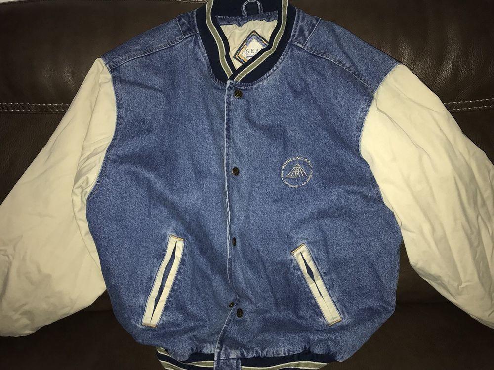 Vintage Gear For Sport Denim Varsity Jacket Size Xl Rock And Roll Hall Of Fame Fashion Clothing Shoes Accessories Vintage Clothing Men Denim Wash Jackets