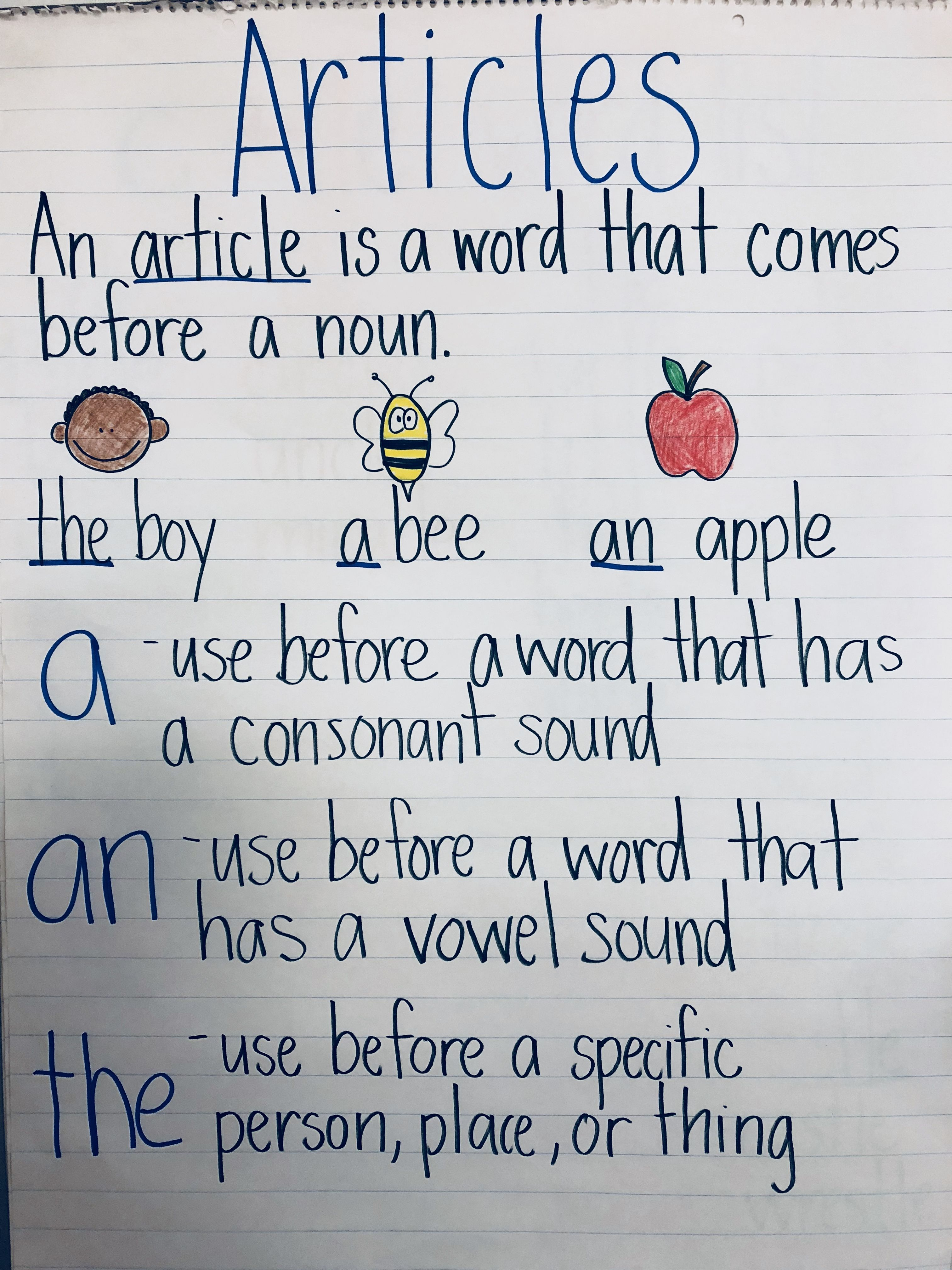 Article A An The Grammar Anchorchart