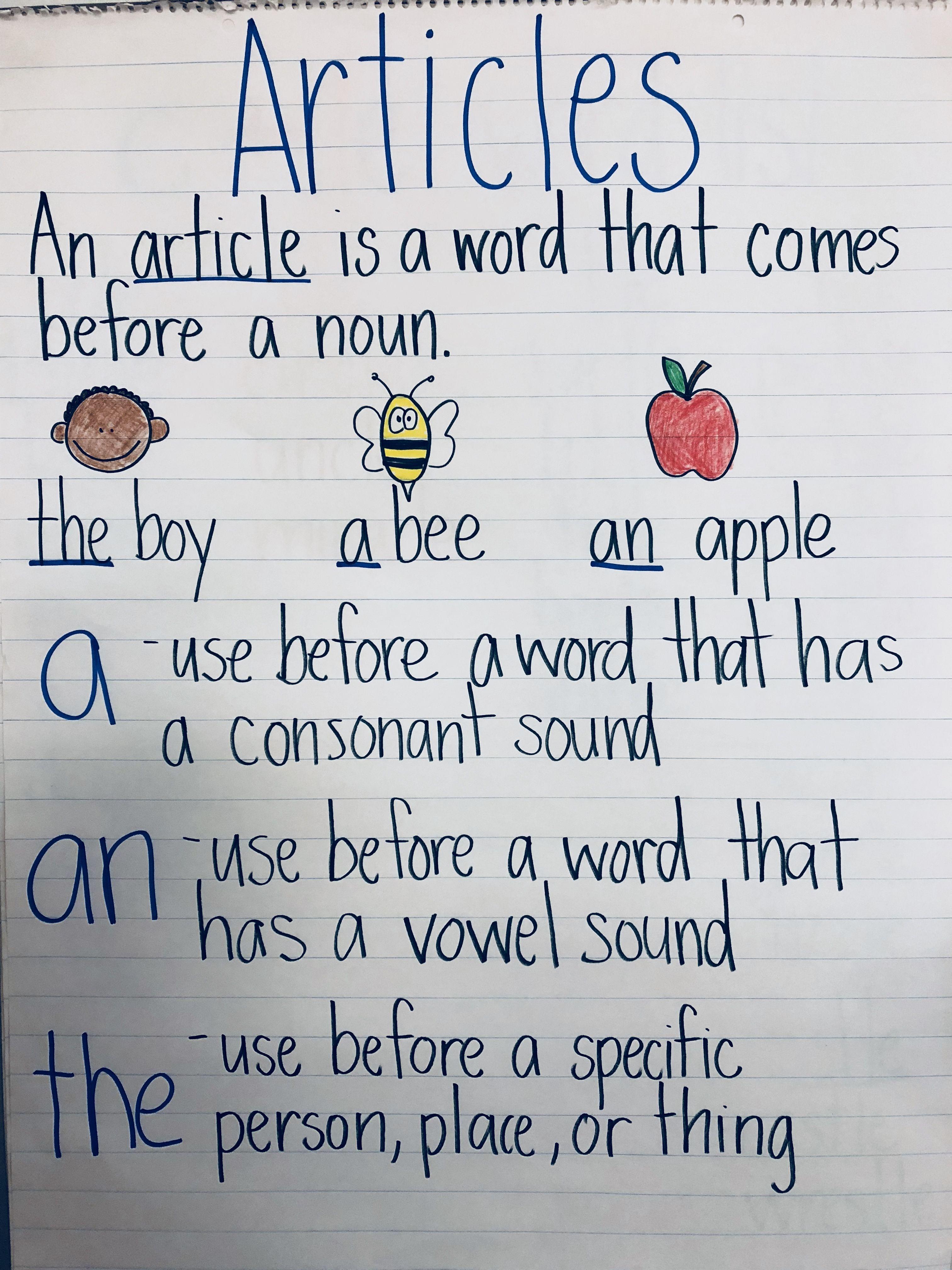 Article A An The Grammar Anchorchart Grammar Anchor Charts Teaching Grammar English Grammar Worksheets [ 4032 x 3024 Pixel ]