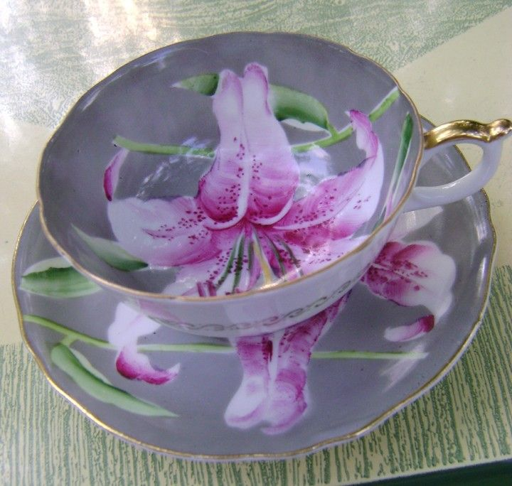 Vintage Tea Cup with Stargazer Lily Circa 1950 Made in Occupied