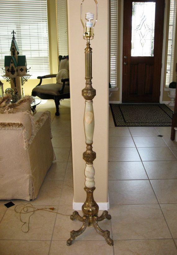 Vintage Onyx Marble Brass European Floor Lamp By Lindaantiques