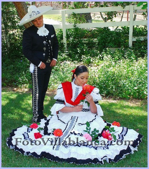 Groom And Bride In Mexican Traditional Folkloric Costume
